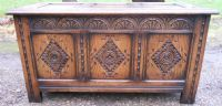Carved Oak Triple Panel Blanket Chest